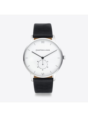 Kapten and Son Heritage Silver Black Leather Watch