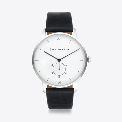 Kapten and Son Heritage Silver Black Leather