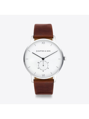 Kapten and Son Heritage Silver Brown Leather Horloge