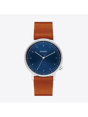 Komono Lewis Blue Cognac Watch