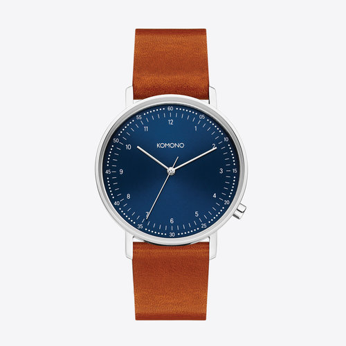 Komono Lewis Blue Cognac Horloge
