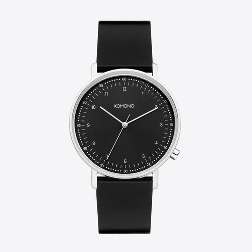 Komono Lewis Black Silver Horloge