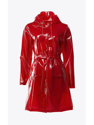 Rains Transparant Belt Jacket Glossy Red Raincoat