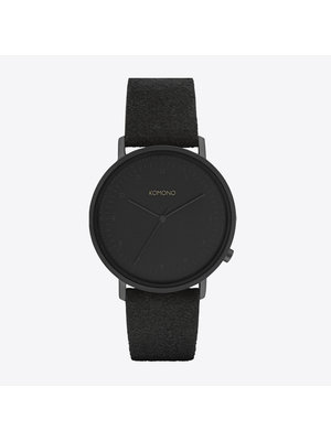Komono Lewis Black Suede Horloge