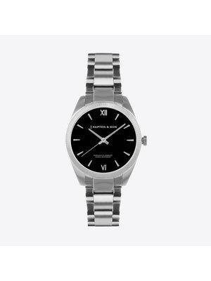 Kapten and Son Crush Silver Black Steel Horloge