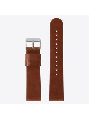 Komono Komono Leather Watch Strap 20 Cognac Silver