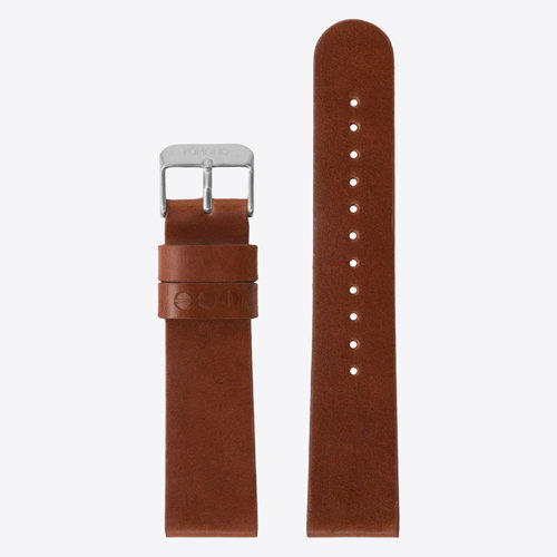 Komono Leather Watch Strap 20 Cognac Silver