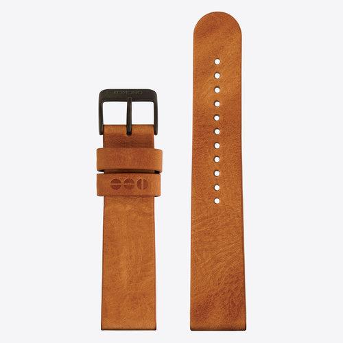 Komono Leather Watch Strap 20 Cognac Black
