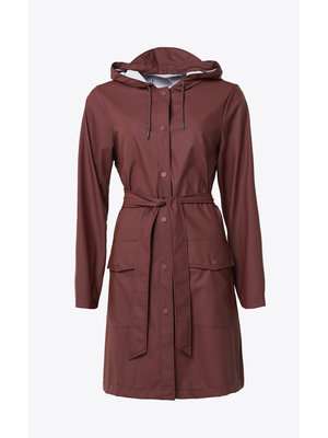 Rains Belt Jacket Maroon Raincoat