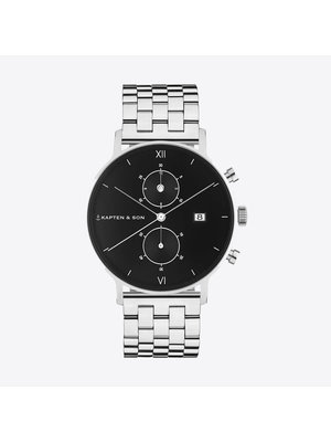 Kapten and Son Chrono Silver Black Steel Horloge