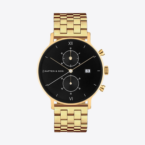 Kapten and Son Chrono Gold Black Steel Horloge