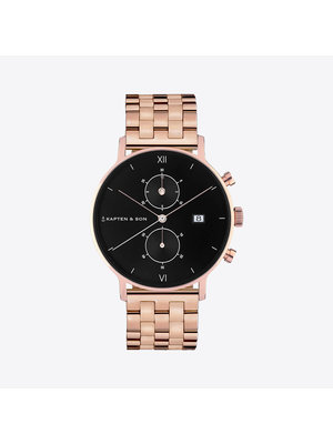 Kapten and Son Chrono Small Black Steel Watch