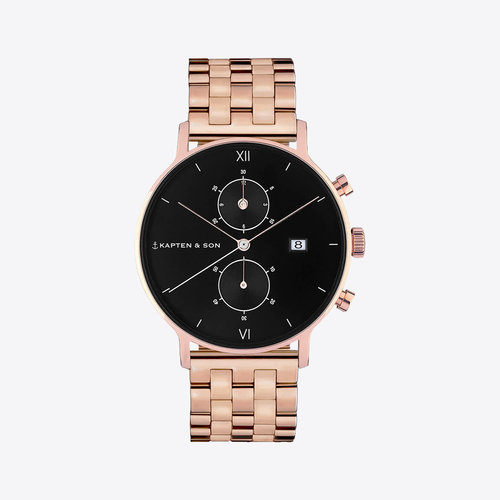 Kapten and Son Chrono Small Black Steel Horloge
