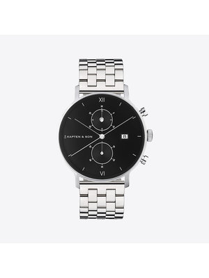Kapten and Son Chrono Small Silver Black Steel Watch