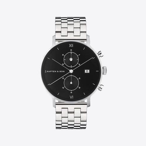Kapten and Son Chrono Small Silver Black Steel Horloge