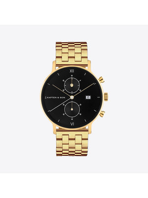 Kapten and Son Chrono Small Gold Black Steel Horloge