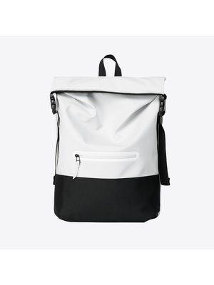Rains Buckle Rolltop Off White Backpack