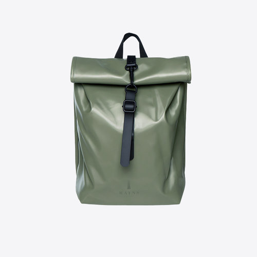 Rains Rolltop Mini Shiny Olive Rugzak