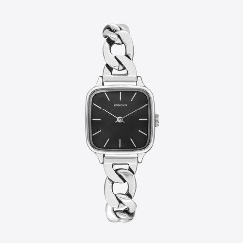 Komono Kate Revolt Silver Black Watch