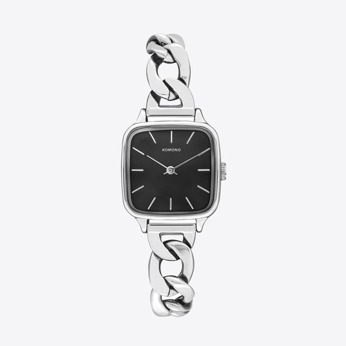 Komono Kate Revolt Silver Black Horloge