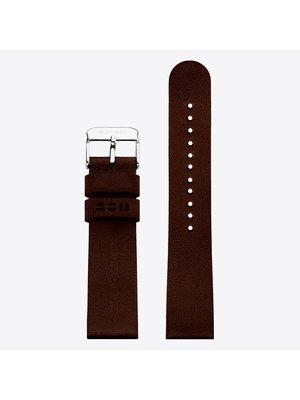 Komono Komono Leren Horlogeband 20 Chocolate Silver