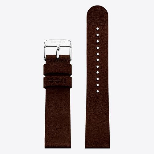 Komono Komono Leather Watch Strap 20 Chocolate Silver