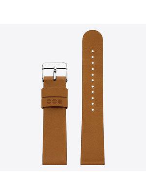 Komono Komono Leather Watch Strap 20 Cigar Silver