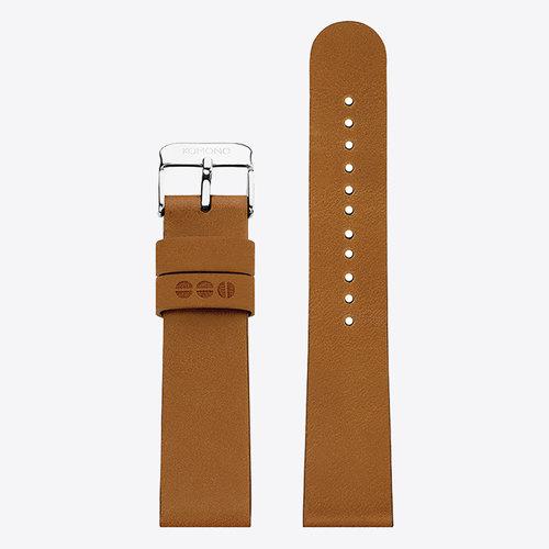 Komono Komono Leren Horlogeband 20 Cigar Silver