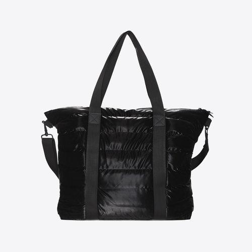 Rains Tote Bag Quilted Velvet Black
