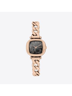 Komono Moneypenny Revolt Rose Gold Black Horloge