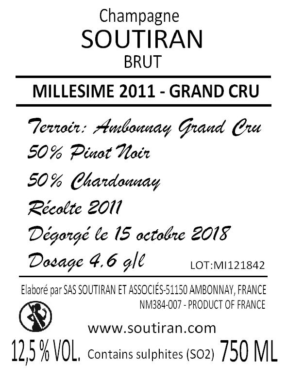 Champagne Soutiran Cuvee Millesime  Grand Cru 2011-2