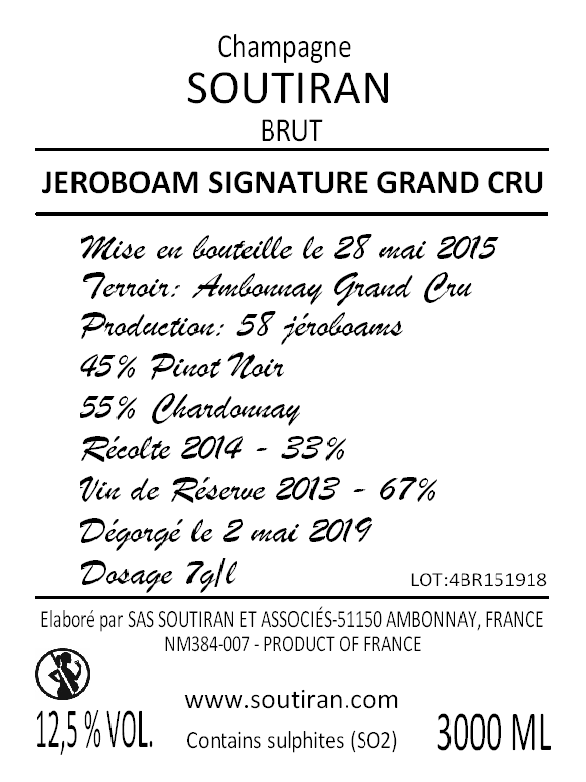 Champagne Soutiran Cuvee Signature  Grand Cru Brut Jeroboam  3ltr-3