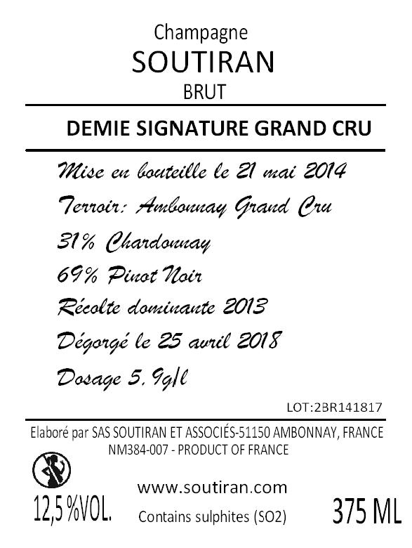 Champagne Soutiran Brut Cuvee Signature Grand Cru 0,375ltr-2