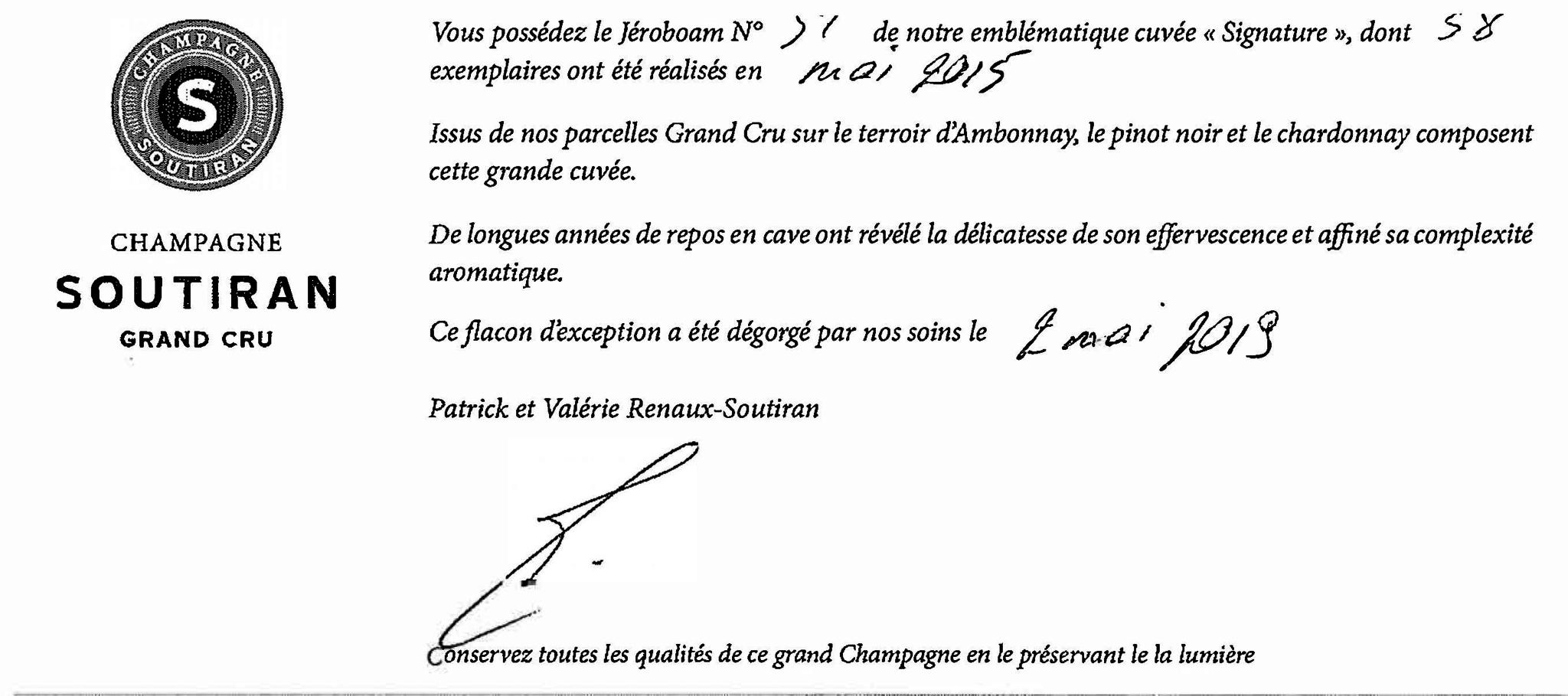 Champagne Soutiran Cuvee Signature  Grand Cru Brut Jeroboam  3ltr-2