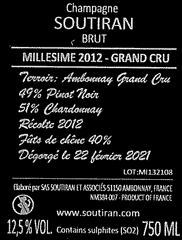 Soutiran Cuvee Millesime  Grand Cru 2012-2