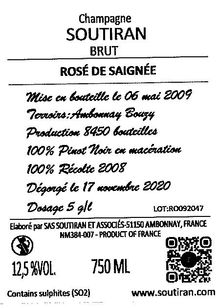 Champagne Soutiran Brut Cuvee Rose de Saignee-2