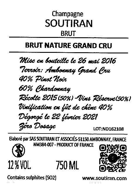 Champagne Soutiran Cuvee Brut Nature Grand Cru-2