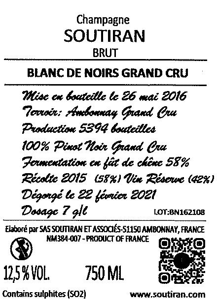 Champagne Soutiran Cuvee Perle Noir Brut Grand Cru-3