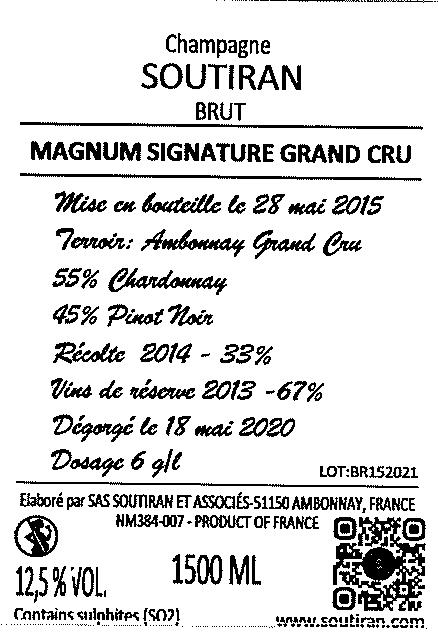 Champagne Soutiran Brut Cuvee Signature  Grand Cru Magnum  1,5ltr-3