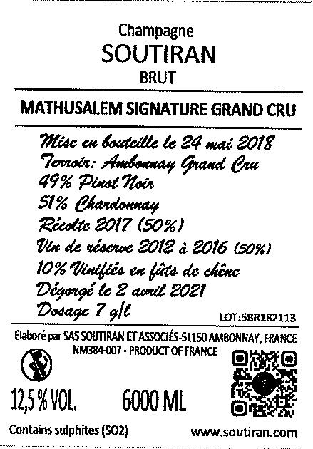 Champagne Soutiran Cuvee Signature Grand Cru Brut Mathusalem  6ltr-2