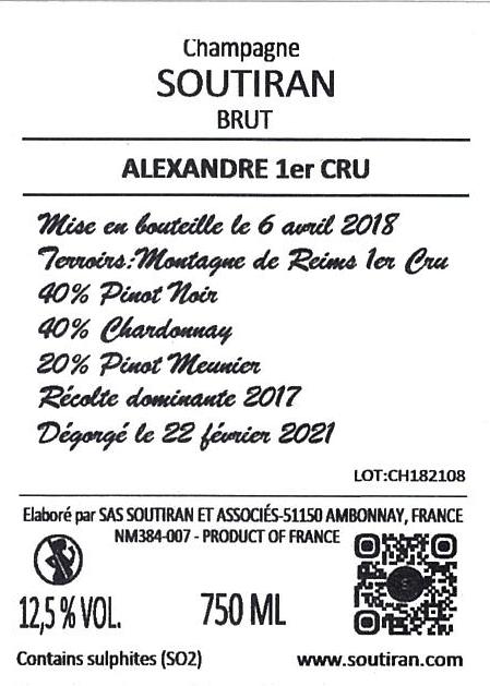 Champagne Soutiran Brut Cuvee Alexandre 1er Cru-2
