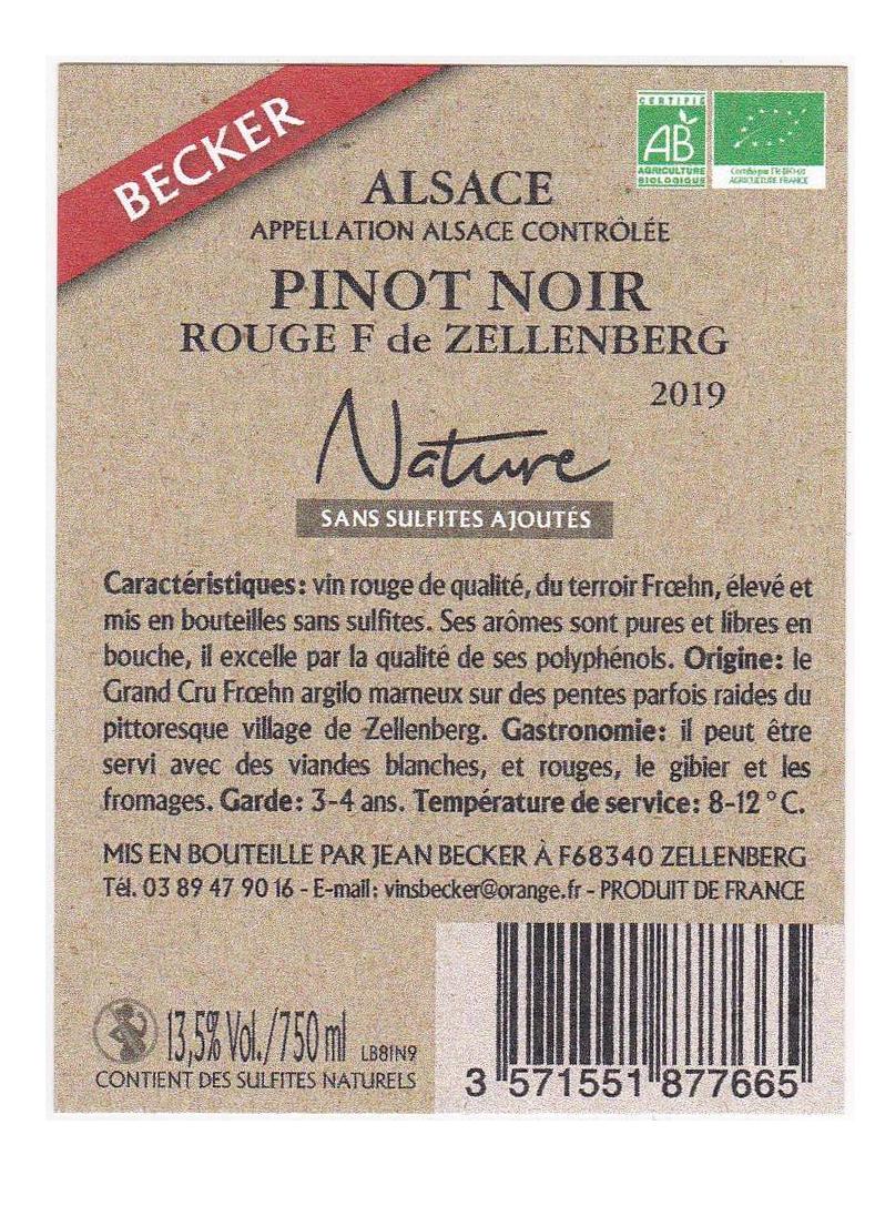 Alsace Pinot Noir rouge F de Zellenberg Nature-2