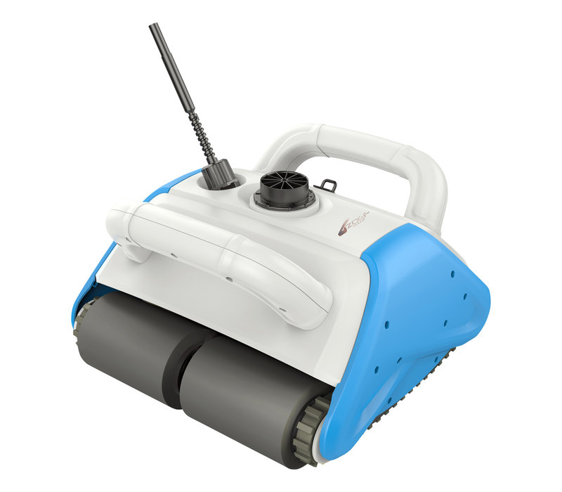 Zoef swimming pool robot Pieter with cart, floating battery, power box