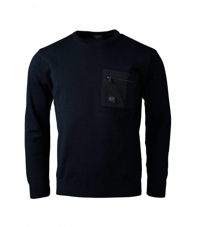 PAUL & SHARK C0P1069-050 Donkerblauwe pullover - ronde hals - ritsdetail op borst -  van Paul & Shark - 100% wol - C0P1069-50