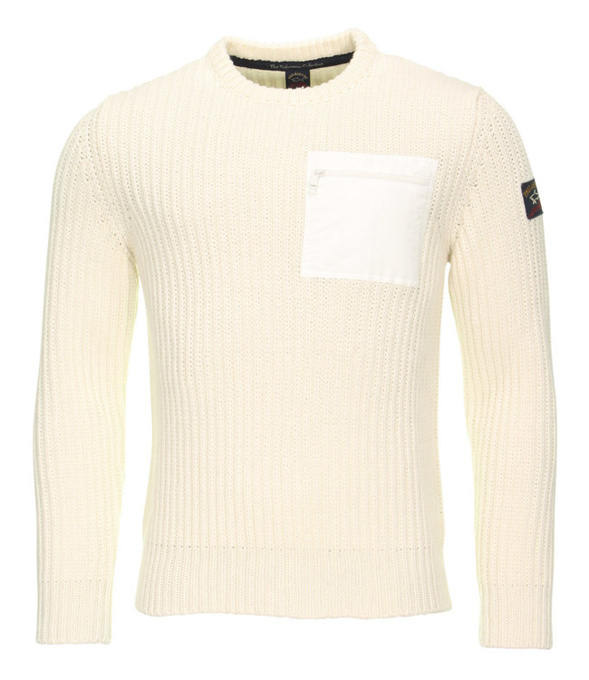 PAUL & SHARK Off white gebreide pullover - ronde hals - ritsdetail op de borst - van Paul & Shark - 100% wol - I19P1030-469