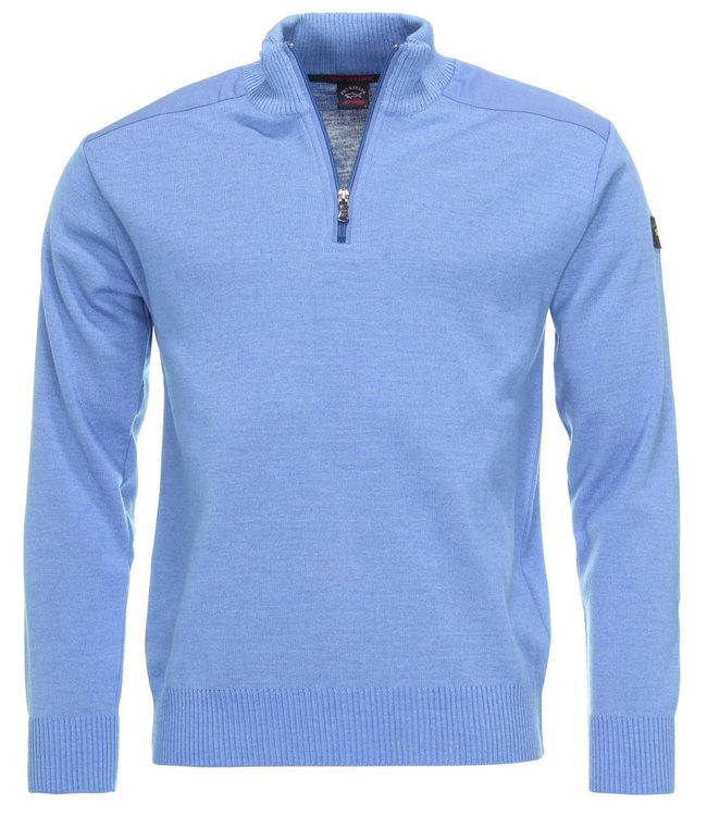 PAUL & SHARK COP1028-748 pullover met rits een openstaande kraag, en lange mouwen blauw