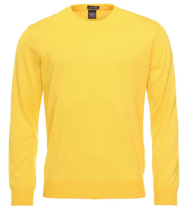 PAUL & SHARK C0P1040-458 pullover ronde hals geel met lange mouwen