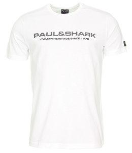 PAUL & SHARK E20P1082 - 010 T-shirt wit met zwarte opdruk