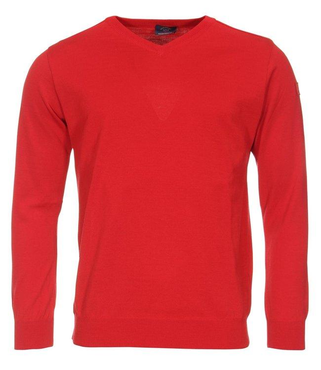 PAUL & SHARK COP1041-577 pullover V-hals rood met lange mouwen