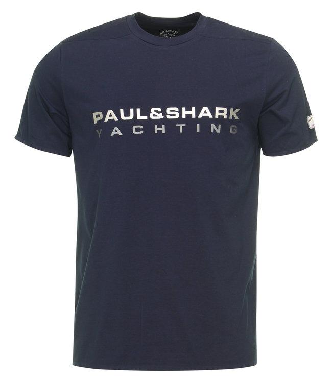 PAUL & SHARK E20P1001 - 013 T-shirt donkerblauw met print en korte mouwen